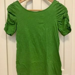 spring green ruched-sleeve tee
